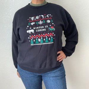 Gildan Winter Scenery Ugly XMas Sweater Size L